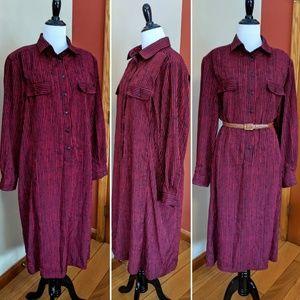 Vintage Schrader long striped shirtdress